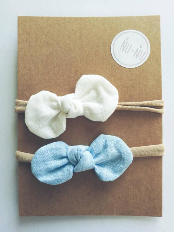 Detské čelenky s mašličkou - sada 2ks modrá a biela